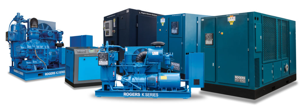 The Rogers K Series family of rotary screw air compressors and vacuum pumps